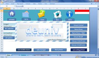 menu utama aplikasi amplop excel