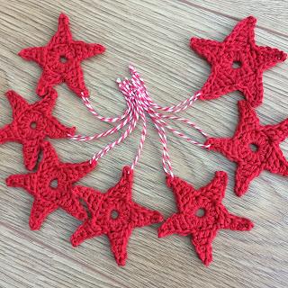 Red crochet stars