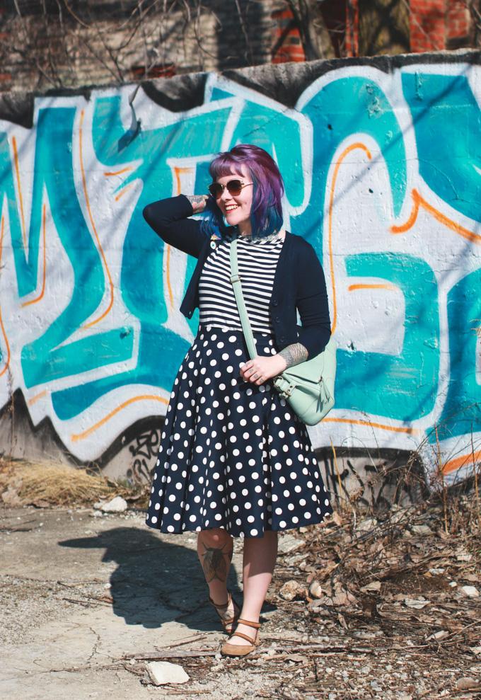 Cleveland Fashion Blog, polka dot skirt, kaylah doolan, purple hair