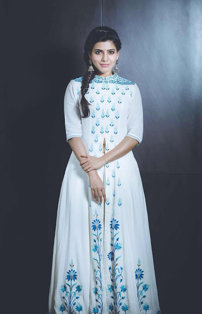 Samantha Prabhu in Floral Embroidered Chanderi High Slit Anarkali