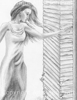 figurative drawings, realistic pencil drawing, woman