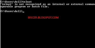perintah telnet pada Command Prompt