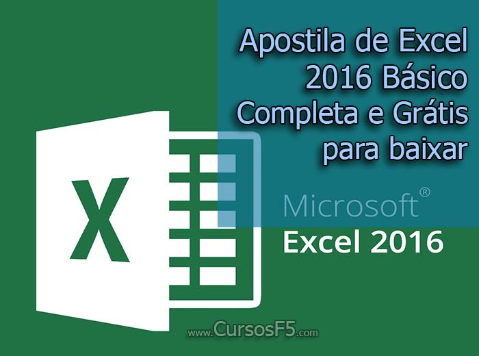 Apostila de Excel 2016 Básico Completa e Grátis para baixar