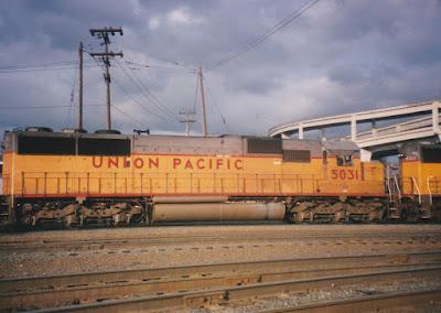 Union Pacific SD50 #5031 at Albina Yard in Portland, Oregon, in March, 1997