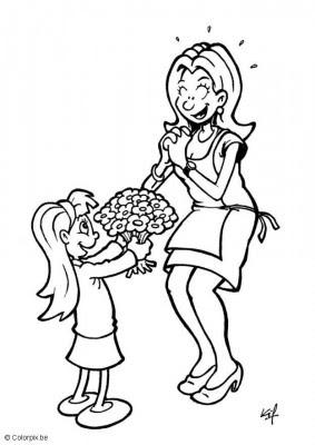 Madre Recibiendo Rosas Para Colorear Dibujo Views