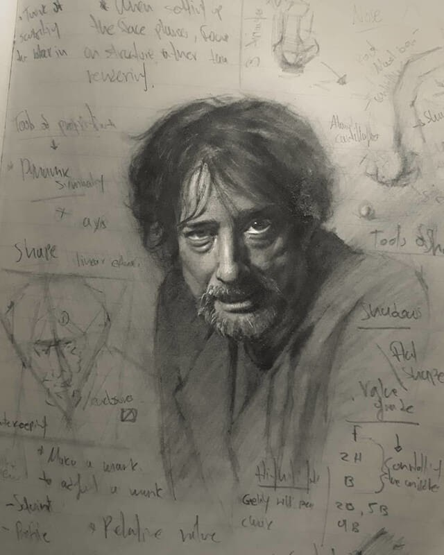 02-Author-John-Fenerov-Charcoal-and-Graphite-Portraits-on-Paper-www-designstack-co