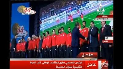 حوار جانبي بين السيسي ومجدي عبدالغني