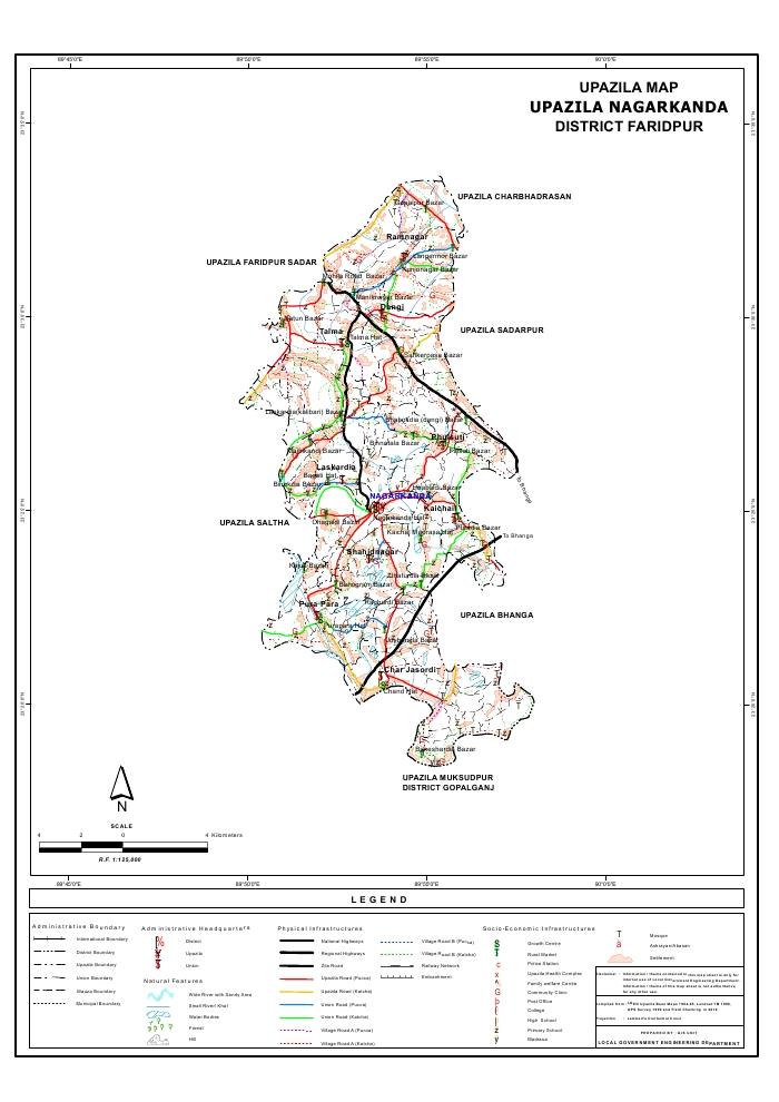 Nagarkanda Upazila Map Faridpur District Bangladesh