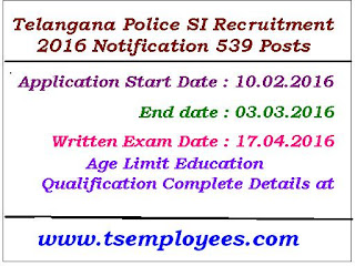 Telangana Police SI Recruitment 2016 Notification 539 Posts TS Police SI Recruitment 2016 new notification 539 posts Stipendiary Cadet Trainee (SCT) Sub Inspectors of Police Civil Men in Police Department Recruitment Notification 2016 at AR / SAR CPL / APSP/ SPF / Station Fire Officers (SFO) Man or Women Posts. Telangana Police Recrutment Board Posts Eligible and suitable candidates can apply through Online Application mode from 2016. The information Regarding Age Limit / Educational Qualification / No of Posts / Selection process / how to Apply / Application fee / and other Details of TS Sub Inspectors (SI) Recruitment 2016 Apply Online