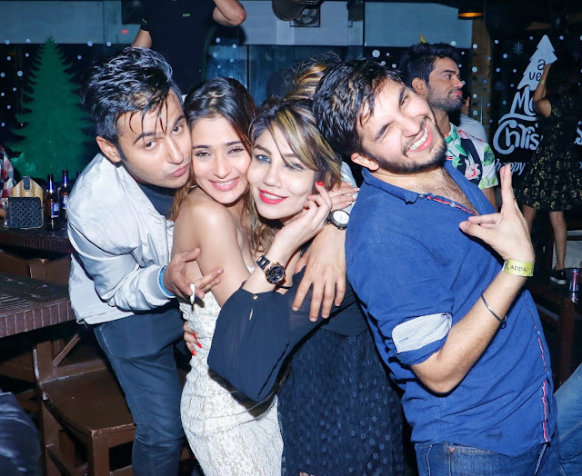 Aditya Singh Rajput, Sara Khan with Friends - R- Adda Roof Top Hideout Bar- new year's eve 2017