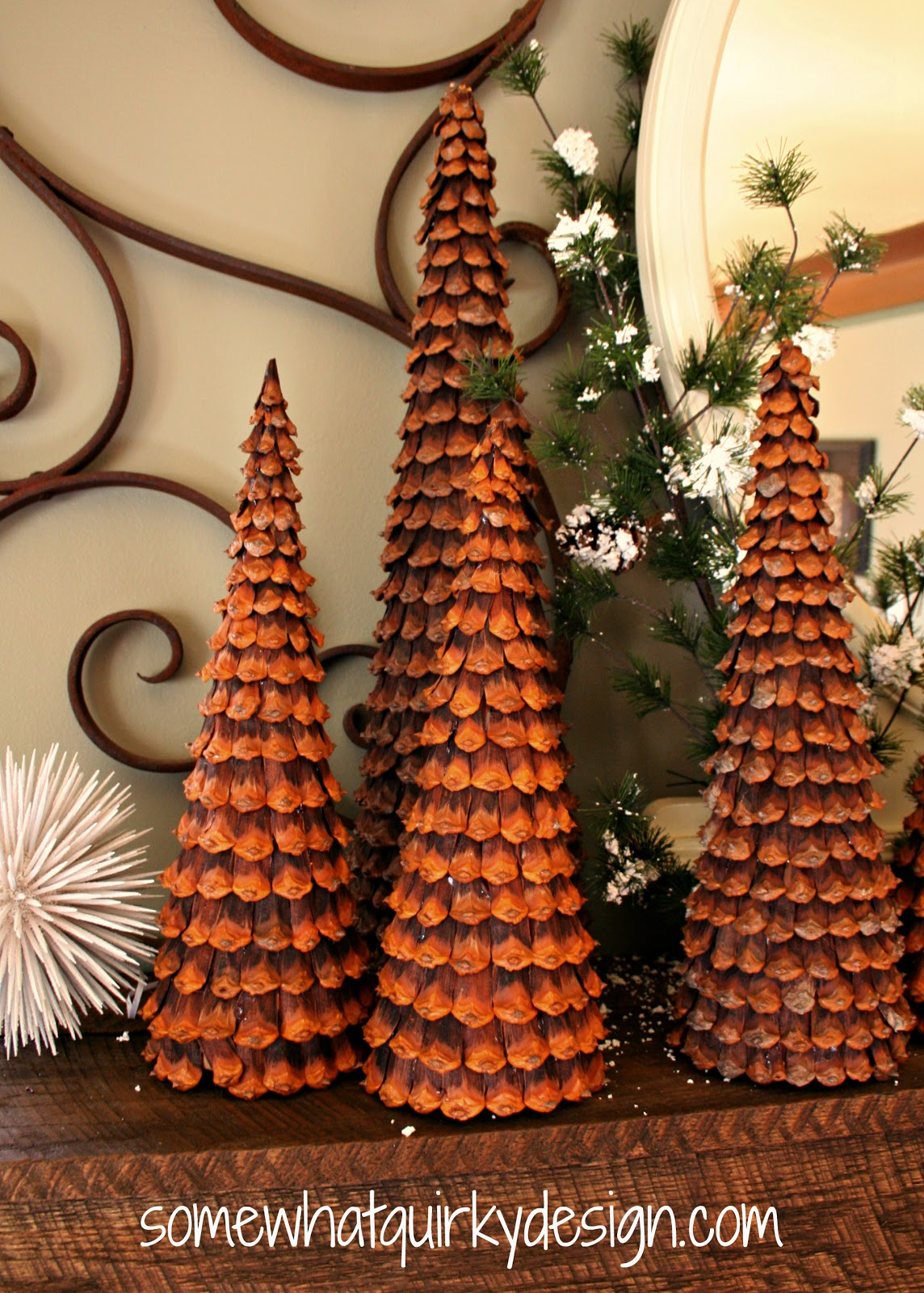 Christmas Decorations Cone Trees : Somewhat quirky pine cone christmas trees