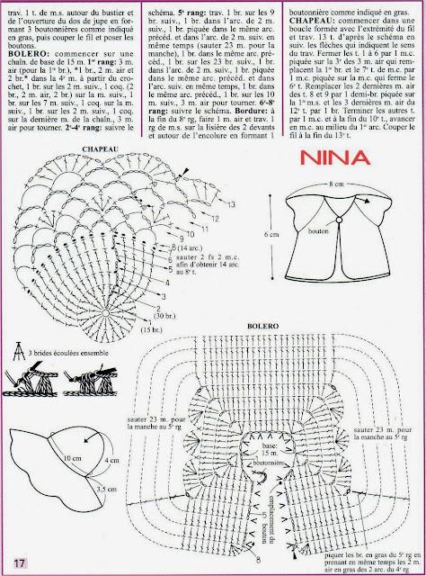 Nina, Roupa de Crochê Para Barbie Com Gráfico, vestido, chapéu e casaquinho - robe, chapeau et bolero de poupée - dress and hat for dolls schemas