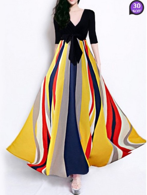 V Neck Color Block Maxi Dress (Price:$ 27.17)
