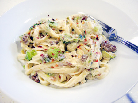 Creamy Brussels Sprout & Italian Sausage Fettuccine