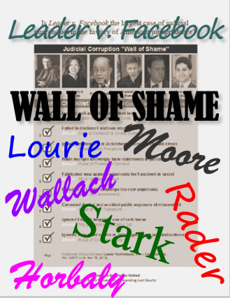 Leader v. Facebook judicial misconduct WALL OF SHAME