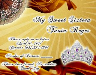 Tarjeta de confirmación de Invitados novedosa para 15 años dorada y bronce con abanicos y corona