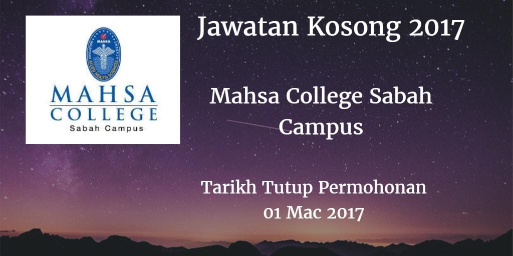 Jawatan Kosong Mahsa College Sabah Campus 01 Mac 2017