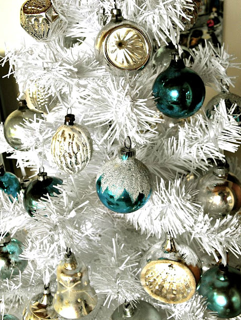 Antique aqua blue and silver Christmas tree ornaments