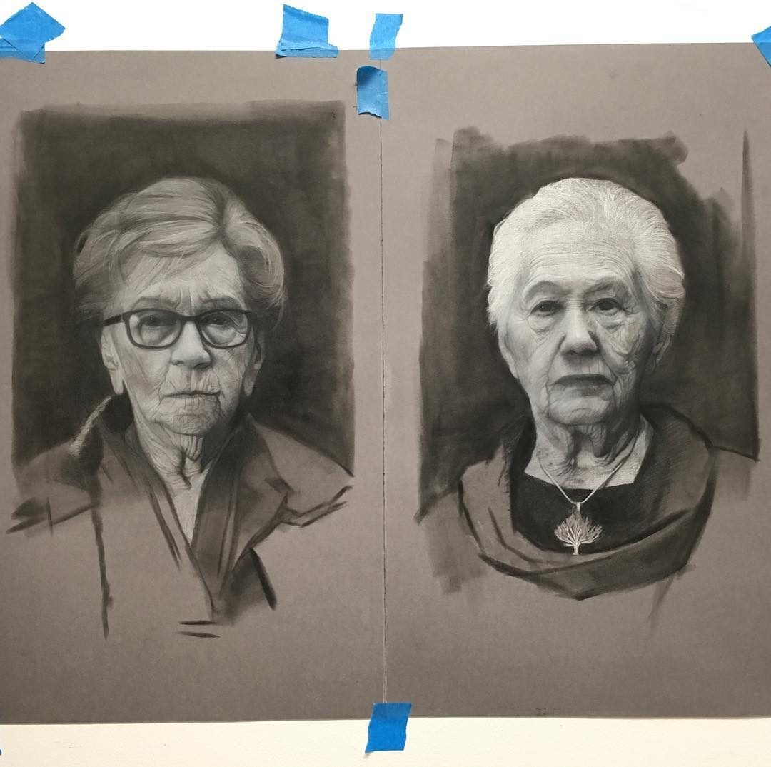 11-Betty-and-Renee-David-Kassan-Charcoal-Portrait-Drawings-of-Ordinary-People-www-designstack-co