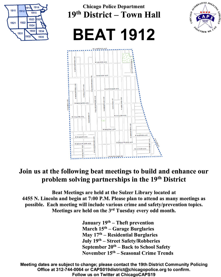 Uptown Update New 19th District CAPS Meeting Schedule For 2016