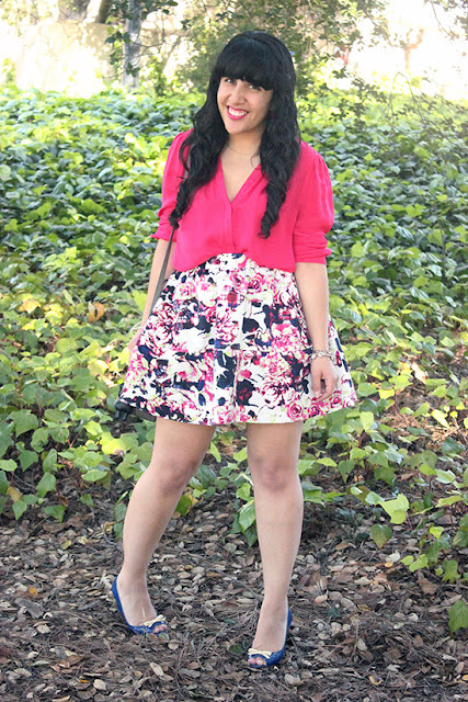 Joie Pink Silk Tie Blouse and Floral Skirt Spring Weekend Outfit