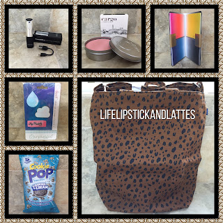 power charger, cargo blush, Cookie Pop cookies and cream popcorn, Duck bag, sticky notes, screen cleaner