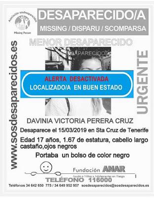 Localizada buen estado la joven que estaba como desaparecida en Santa Cruz de Tenerife, Davinia Victoria Perera Cruz
