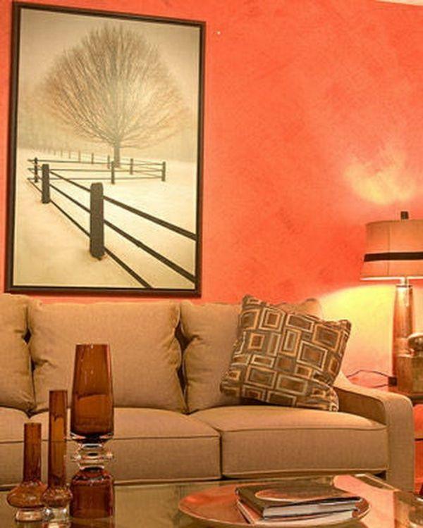 Decoraci n interior de salas en color naranja colores en - Dibujos para decoracion de interiores ...