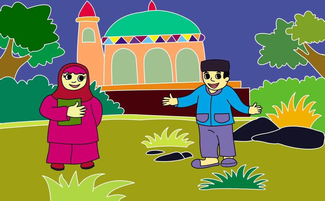 Gambar Cara Mewarnai Masjid Gambar Mewarnai Hd