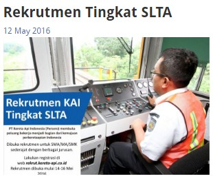 Rekrutmen PT.Kereta Api Indonesia (Persero) Lulusan SMA/MA/SMK