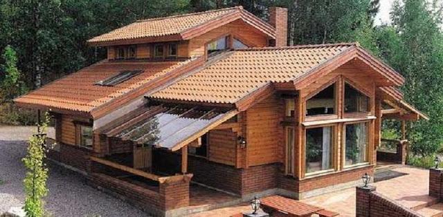 rumah kayu dengan semua furniturenya terbuat dari kayu furniture