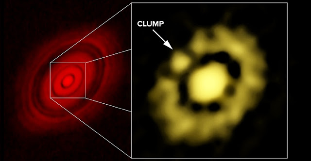 ALMA image of HL Tau at left; VLA image, showing clump of dust, at right. CREDIT: Carrasco-Gonzalez, et al.; Bill Saxton, NRAO/AUI/NSF.