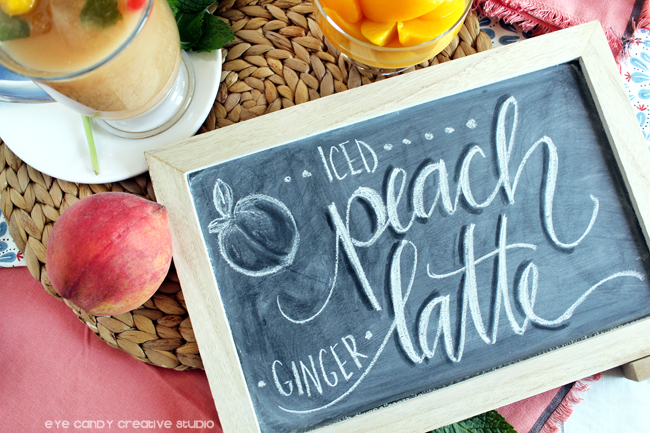 peaches, peach ginger iced latte, chalk lettering, chalkboard, spring