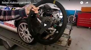 Robert Kubica's car wreck Wrak samochodu Roberta Kubicy