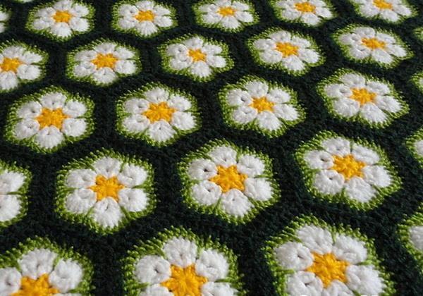 African flower, hexagon motif