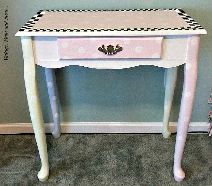 Vintage, Paint and more... whimsically hand painted decorated desk for a little girl