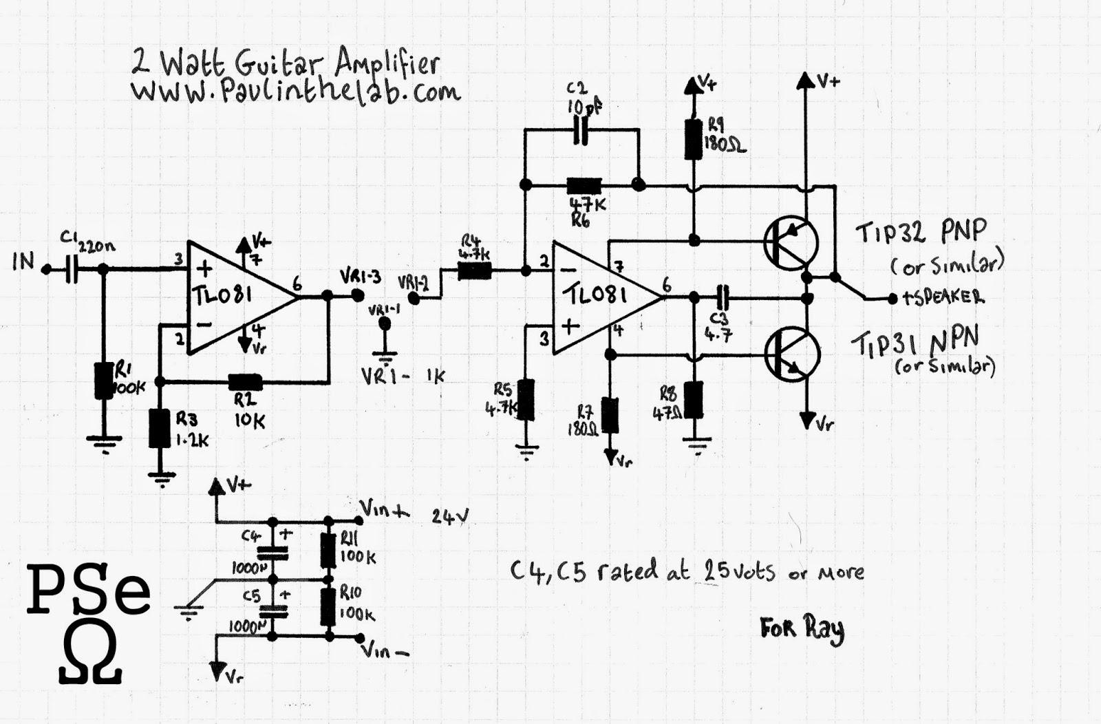 Paul In The Lab 2 Watt Transistor Guitar Amplifier Stripboard Simple 3 Sunday 12 April 2015