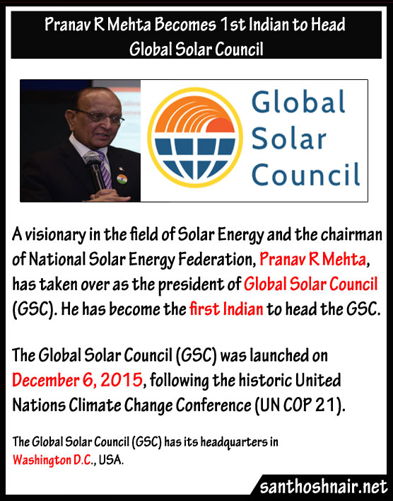 Pranav R Mehta becomes First Indian to head Global Solar Council