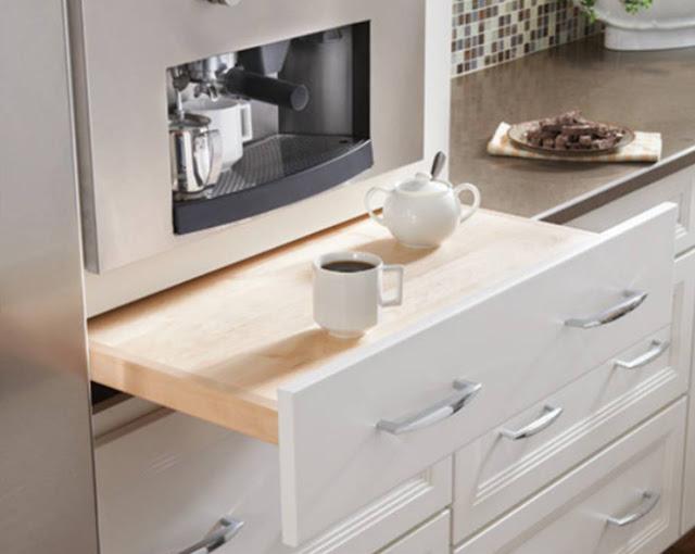 I d e a cocinas estrechas - Mesa de cocina con cajones ...