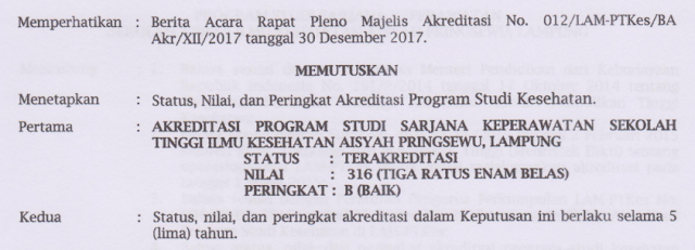 Prodi Keperawatan STIKes Aisyah Pringsewu Raih Akreditasi B