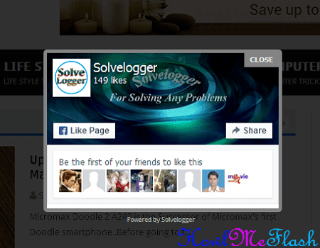 Friendly Facebook Popup Like Box Widget for Blogger