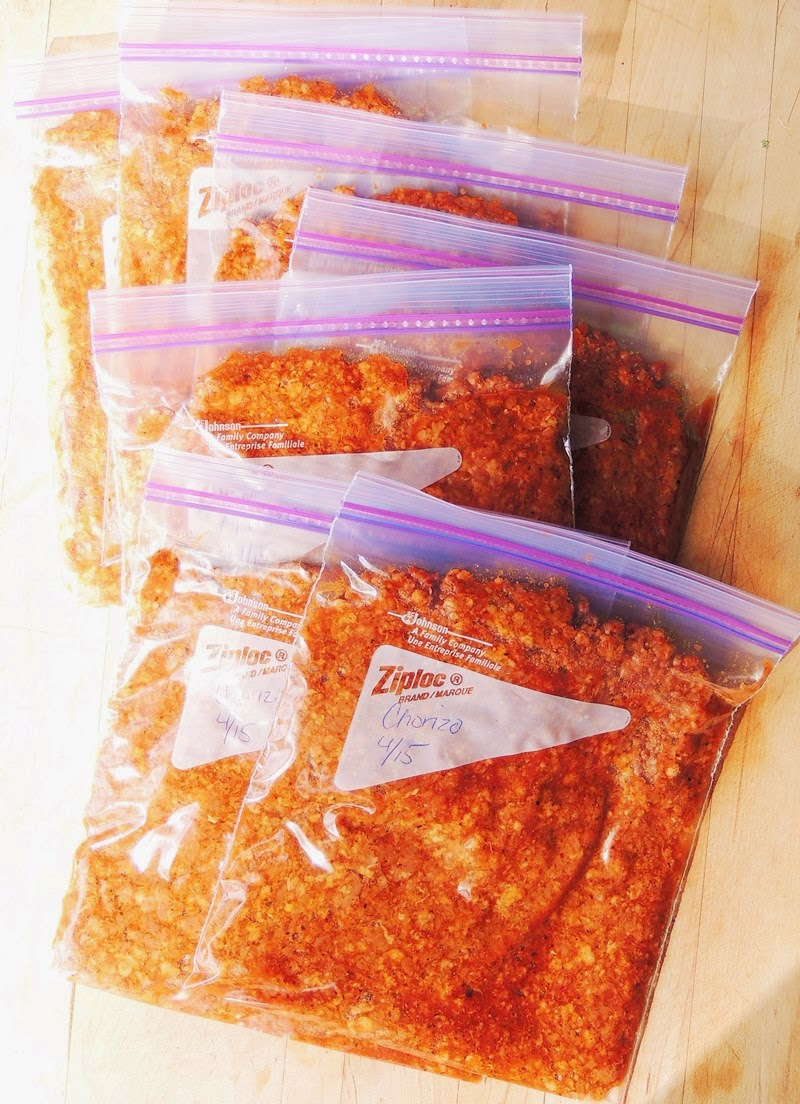 Easy Homemade Chorizo in ziplock storage bags.