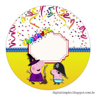Toppers o Etiquetas para Imprimir Gratis de Peppa Pig en Carnaval.