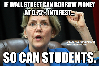 Sen. Elizabeth Warren has just introduced legislation that will let students borrow money for college at the same rock-bottom interest rates that the Big Banks get.