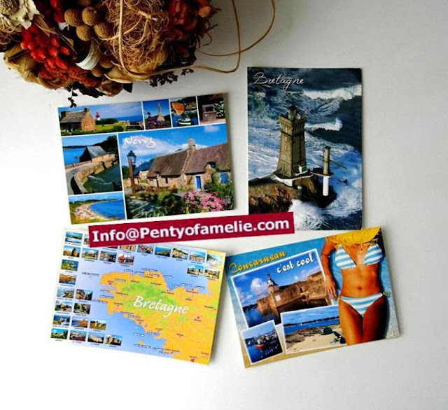 french post cards depicting brittany location map, lighthouses, concarneau and nevez towns