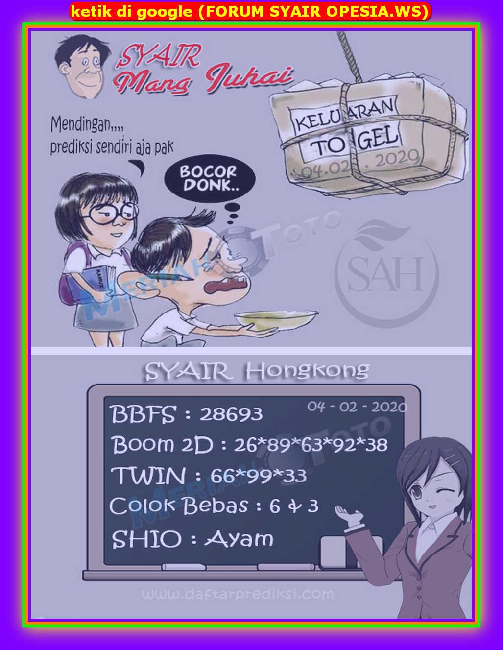 Kode syair Hongkong Selasa 4 Februari 2020 176