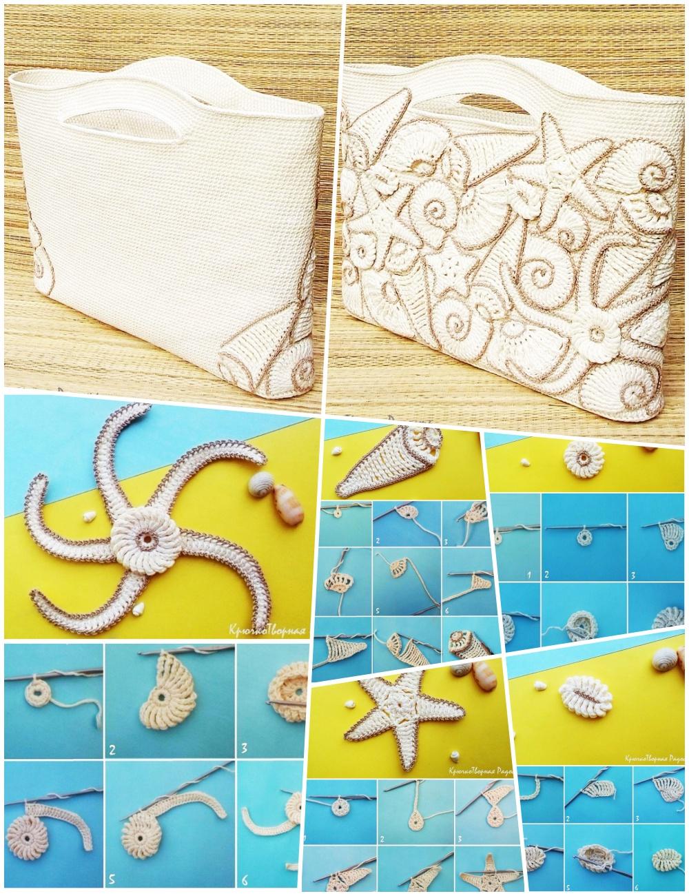 bolsos, bolsas, crochet, figuras marinas, motivos marinos, tutoriales