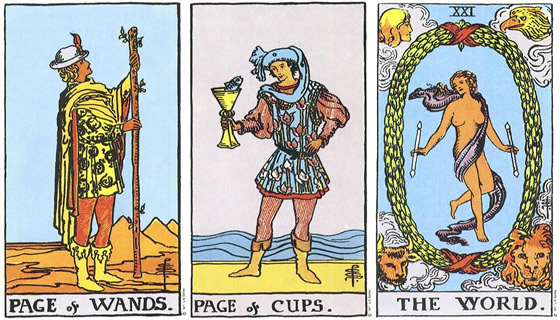 Rider Waite Smith Tarot: Page of Wands, Page of Cups, The World