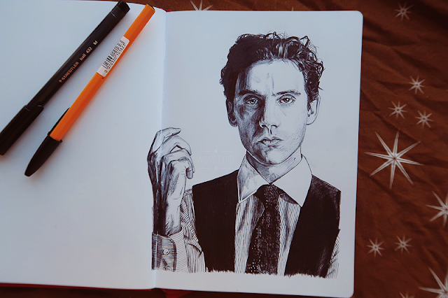 mika ballpoint portrait sketch