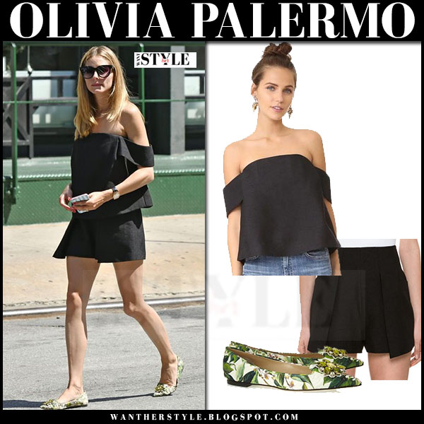 Olivia Palermo in black off shoulder top, black shorts c meo collective and green flats what she wore